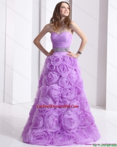 Lovely Lilac Sweetheart 2015 Cocktail Dresses with Rolling Flowers and Sequins