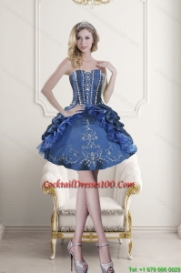 Lovely Sweetheart Blue Embroidery and Beading Cocktail Dresses for 2015