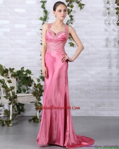 Winter New Arrival Rose Pink Beading Long Cocktail Dresses with Brush Train