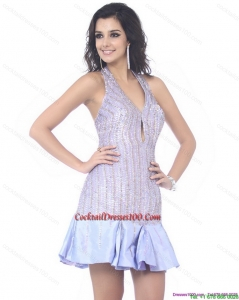 Wonderful Sequined Halter Top Mini Length Cocktail Dress for 2015