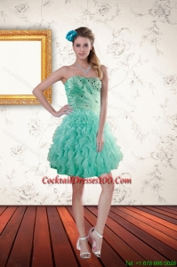 2015 Summer New Arrival Apple Green Cocktail Dresses with Appliques and Ruffles