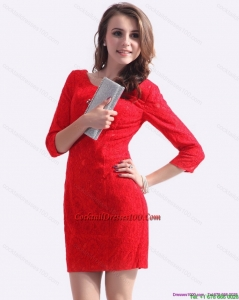 New Style Fall Red Mini Length 2015 Cocktail Dress with Lace