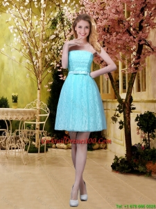 2016 Elegant A Line Laced Cocktail Dresses with Belt in Aqua Blue