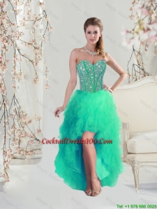 Comfortable High Low Beaded and Ruffles Apple Green Beautiful Cocktail for 2016