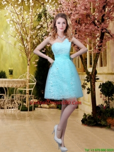 2016 Charming A Line Laced Cocktail Dresses with Appliques in Aqua Blue