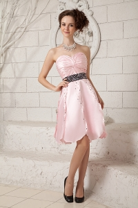 Taffeta Sweetheart Baby Pink Cocktail Dress with Beading and Ruches