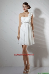 Elegant Empire One Shoulder Short Cocktail Dresses in White
