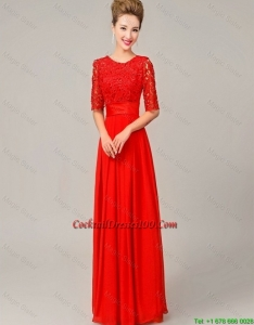 Fashionable Scoop Laced Red Cocktail Dresses with Half Sleeves