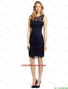 Gorgeous Column Bateau Laced Cocktail Dresses in Black for 2016
