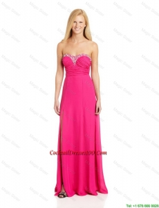 Pretty Empire Sweetheart Cocktail Dresses with Brush Train in Hot Pink