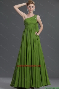 Simple A Line One Shoulder Cocktail Dresses with Watteau Train