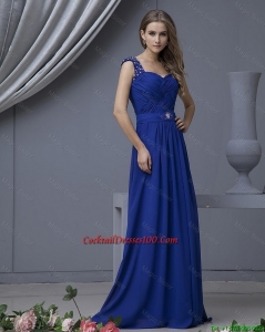 2016 Perfect Straps Beading Long Cocktail Dresses in Royal Blue