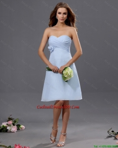 Gorgeous Ruching and Hand Made Flower Short Cocktail Dress in Light Blue