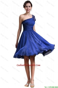 New Style One Shoulder Short Cocktail Dresses in Royal Blue