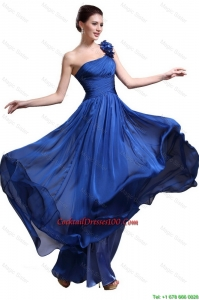 Perfect Royal Blue One Shoulder Cocktail Dresses with Appliques and Ruching