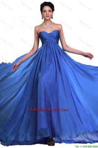 Perfect Sweetheart Ruched Blue Cocktail Dresses with Brush Train
