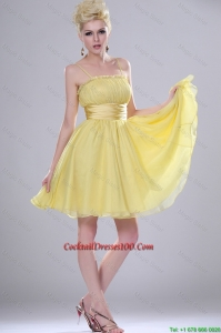 Pretty Yellow Mini Length Cocktail Dresses with Spaghetti Straps