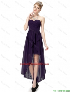 Cheap High Low Sweetheart Purple Cocktail Dresses with Ruching