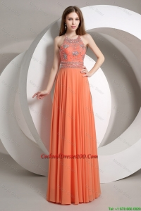 New Arrival Beaded Empire Orange Cocktail Dresses with Halter Top