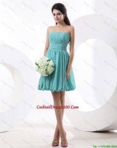 New Arrival Mini Length Aqua Blue Prom Dresses with Strapless