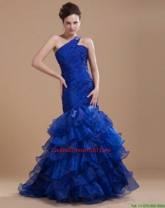 New Arrival One Shoulder Ruffled Layers Cocktail Gowns with Mermaid