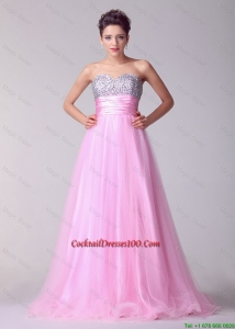 New Arrival Princess Sweetheart Rose Pink Cocktail Dresses with Brush Train