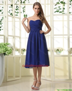 New Arrival Royal Blue Cocktail Dresses with Ruching for 2016