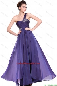 New Arrivals One Shoulder Purple Cocktail Dresses with Beading