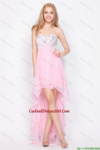 Wonderful Empire Sweetheart High Low cocktail Dresses with Beading