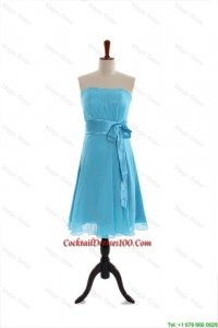 Discount Belt and Bowknot Short Cocktail Dress in Aqua Blue for 2016