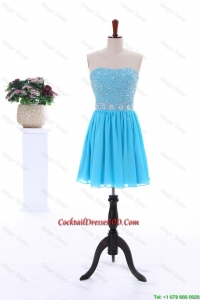 2016 Summer Short Strapless Cocktail Dresses with Beading in Baby Blue