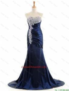 Custom Made Mermaid Royal Blue Cocktail Dresses with Brush Train