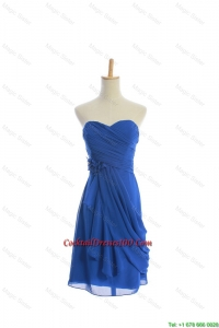 Lovely Hand Made Flowers and Ruching Short cocktail Dresses in Royal Blue
