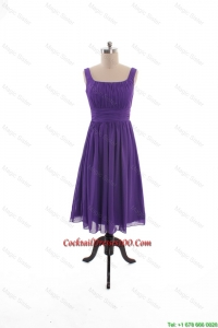 2016 Fall Perfect Square Short Cocktail Dresses with Belt in Purple