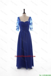 2016 Lovely Empire Sweetheart Ruching Cocktail Dresses with Half Sleeves in Blue