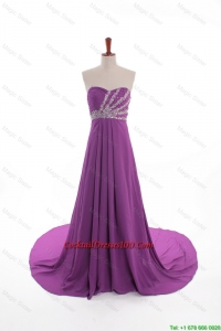 New Arrival Beaded Court Train Cocktail Dresses in Eggplant Purple