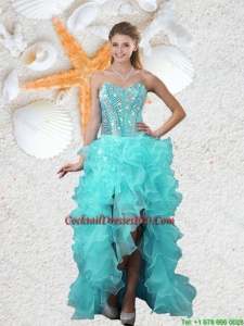 Popular Beaded Sweetheart Aqua Blue Cocktail Dresses with High Low