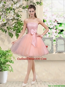 Popular Strapless Mini Length Cocktail Dresses with Appliques and Bowknot