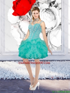 Sexy Ball Gown Beaded Cocktail Dresses with Straps in Turquoise