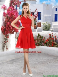 Simple Ruched Red V Neck Cocktail Dresses with Belt
