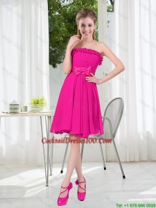Summer A Line Strapless Short Cocktail Dresses with Bowknot