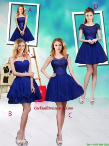 Wonderful Mini Length Royal Blue Cocktail Dresses with Appliques