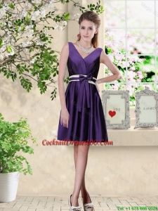 Discount V Neck Zipper Up Cocktail Dresses in Dark Purple