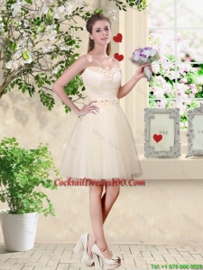 Popular A Line Champagne Cocktail Dresses with Appliques and Belt