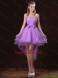 Pretty Strapless Bowknot Cocktail Dresses with High Low