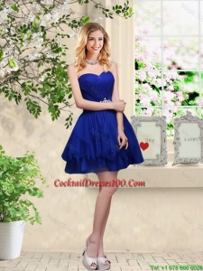 Simple Sweetheart Royal Blue Cocktail Dresses with Belt