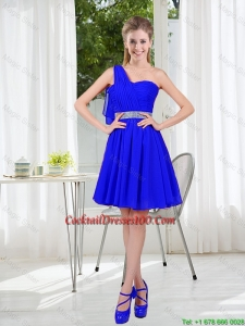 Charming One Shoulder Mini-length Cocktail Dresses in Royal Blue