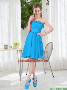 A Line Strapless Cocktail Dresses with Bowknot in Blue