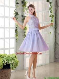 Beautiful New Arrival A Line High Neck Lace Cocktail Dresses with Lavender