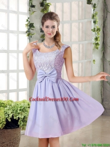 New Arrival A Line Straps Lace Bridesmaid Dresses in Lavender